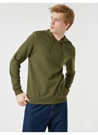 Koton Respect Life - Yasama Saygi - Islemeli Kapüsonlu Uzun Kollu Sweatshirt Yeşil